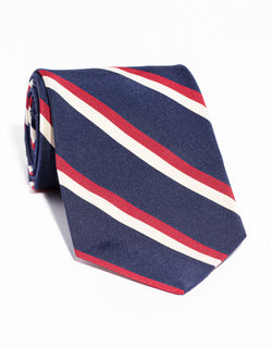 J. PRESS MOGADOR STRIPE TIE - NAVY/RED/WHITE