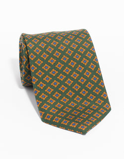 PRINTED MADDER SQUARE TIE - GREEN
