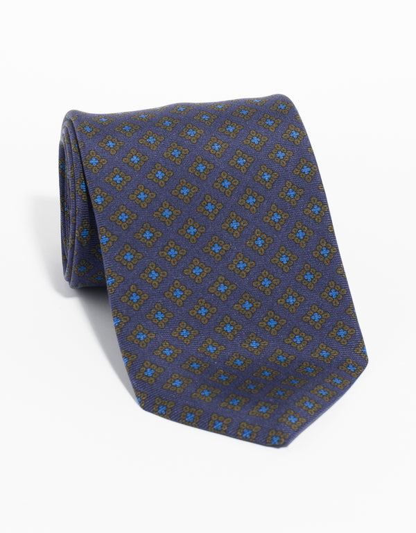 PRINTED MADDER SQUARE TIE - NAVY