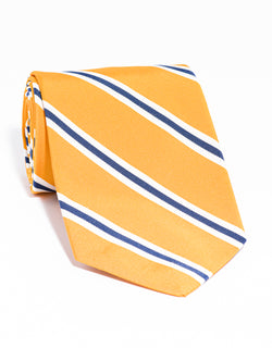 J. PRESS MOGADOR STRIPE TIE - GOLD/WHITE/NAVY