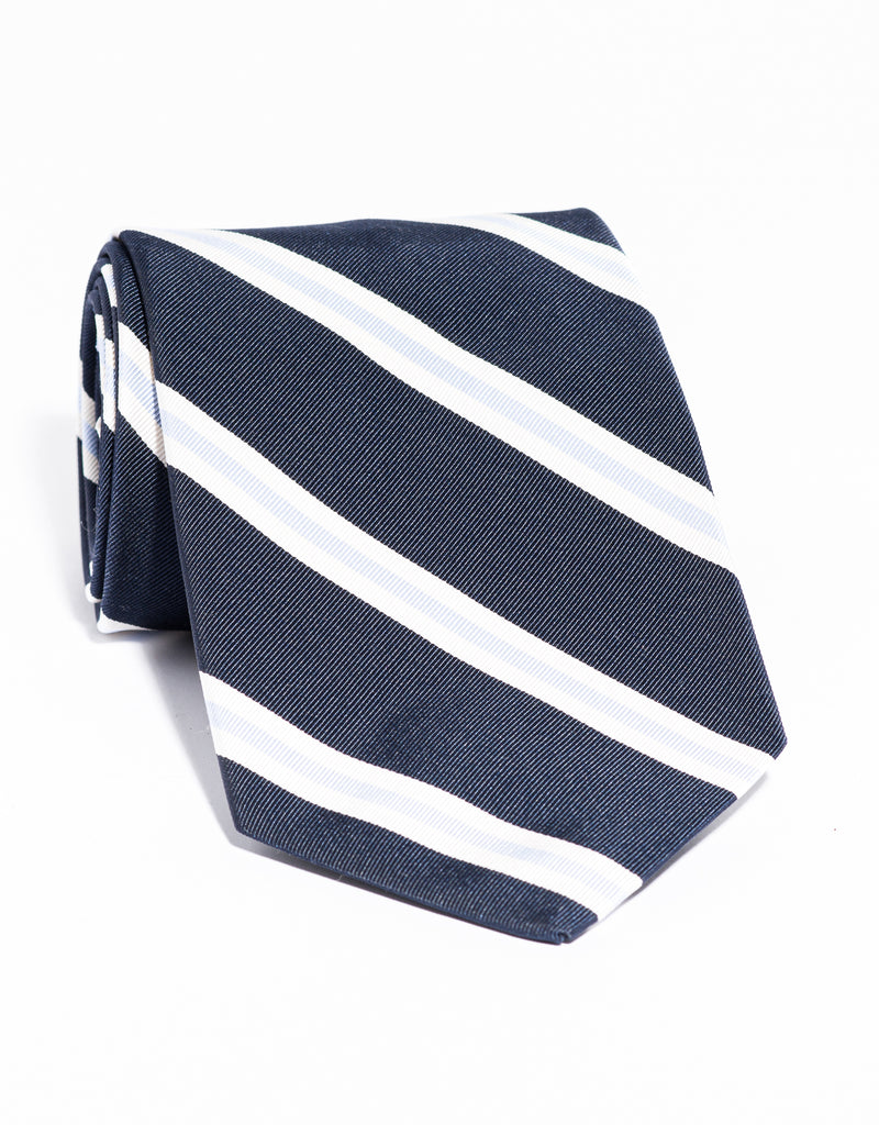 J. PRESS MOGADOR STRIPE TIE - NAVY/WHITE/LIGHT BLUE