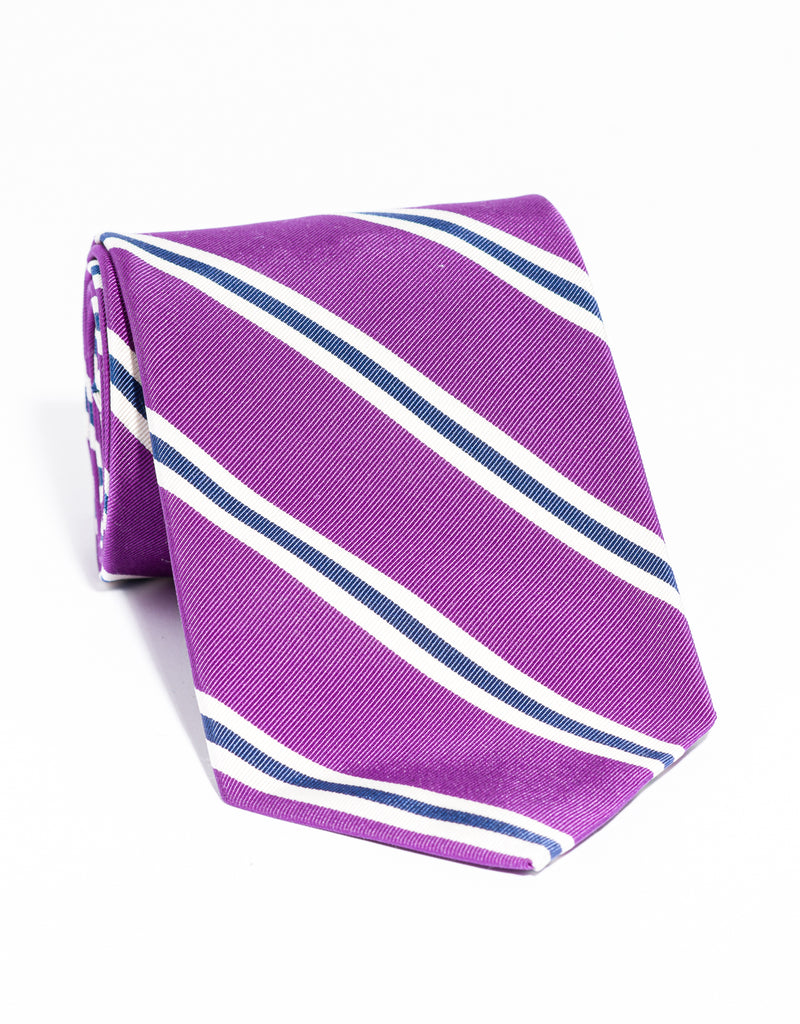 J. PRESS MOGADOR STRIPE TIE - PURPLE/WHITE/NAVY