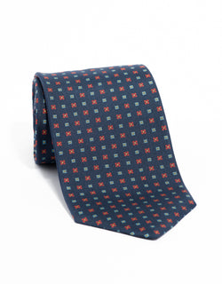 SILK SMALL SQUARES TIE - NAVY