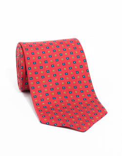 SILK SMALL SQUARES TIE - RED