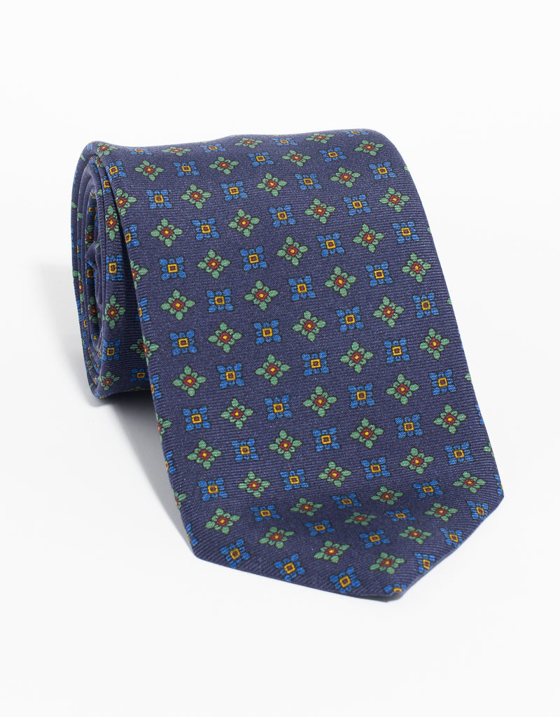 PRINTED MADDER DIAMOND TIE - NAVY