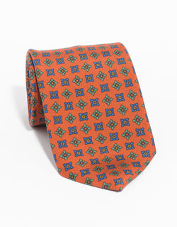 PRINTED MADDER DIAMOND TIE - ORANGE