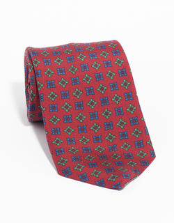 PRINTED MADDER DIAMOND TIE - RED