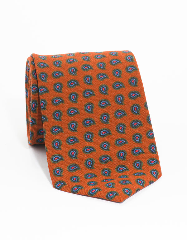 WOOL CHALLIS PINE TIE - ORANGE