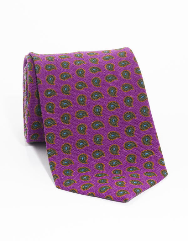 WOOL CHALLIS PINE TIE - PURPLE
