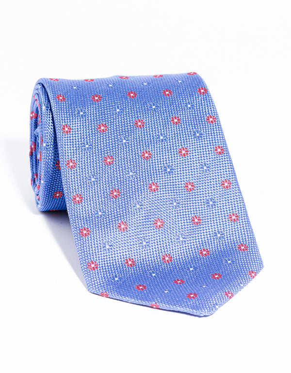 J. PRESS NEAT ON PINCHECK TIE - BLUE