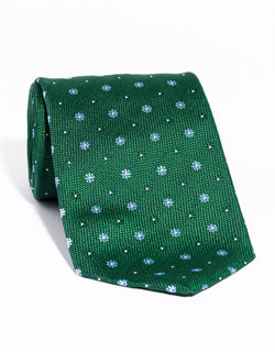 J. PRESS NEAT ON PINCHECK TIE - GREEN