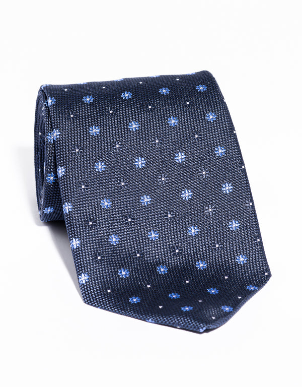J. PRESS NEAT ON PINCHECK TIE - NAVY