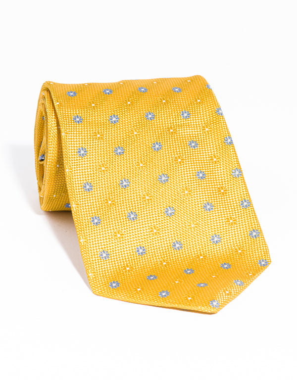 J. PRESS NEAT ON PINCHECK TIE - YELLOW