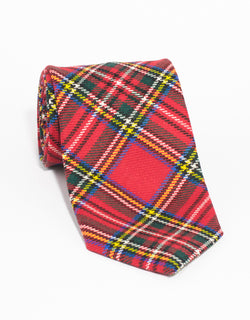 WOOL TARTAN TIE - RED GREEN