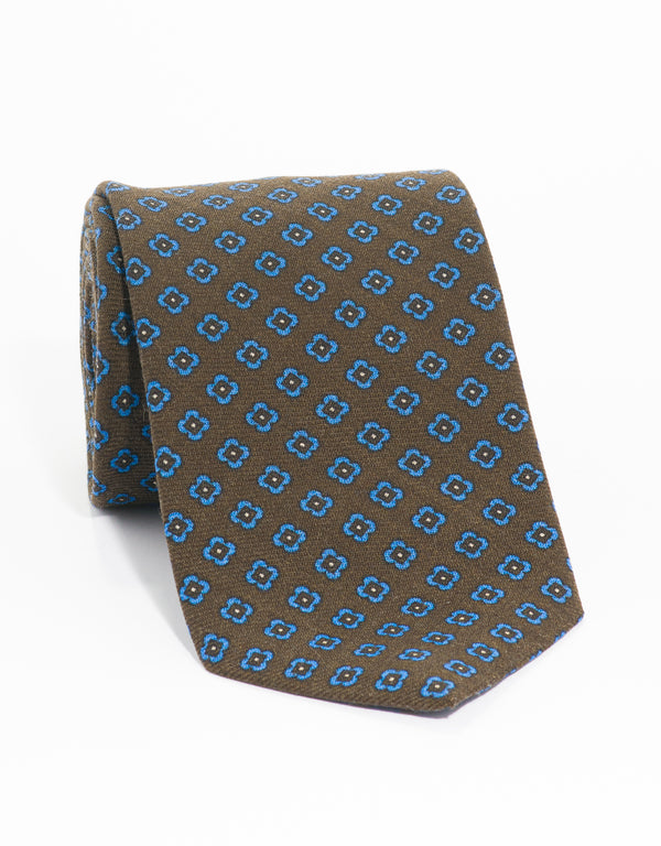 WOOL CHALLIS FOULARD TIE - BROWN