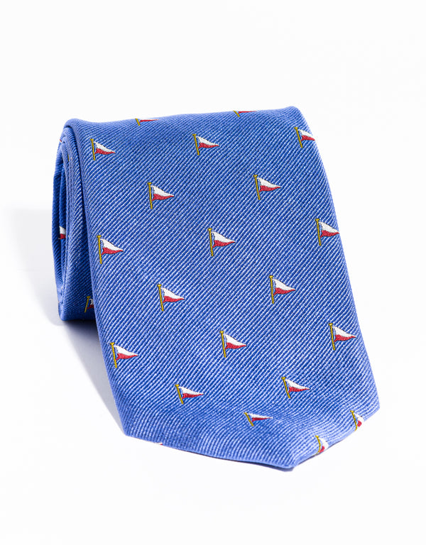 J. PRESS EMBLEMATIC FLAG TIE - BLUE