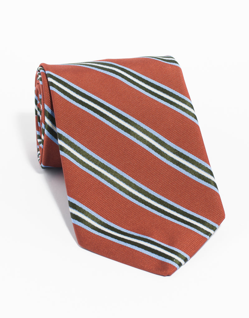 MULTI STRIPE MOGADOR TIE - ORANGE
