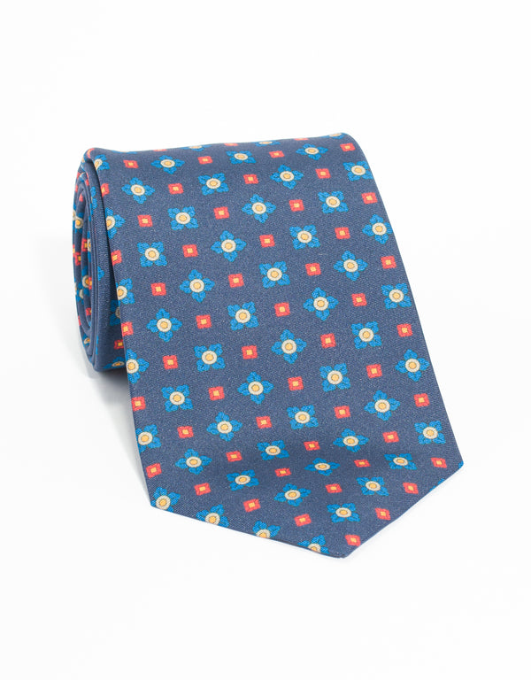 MEDIUM FOULARD AND SQUARE TIE - NAVY