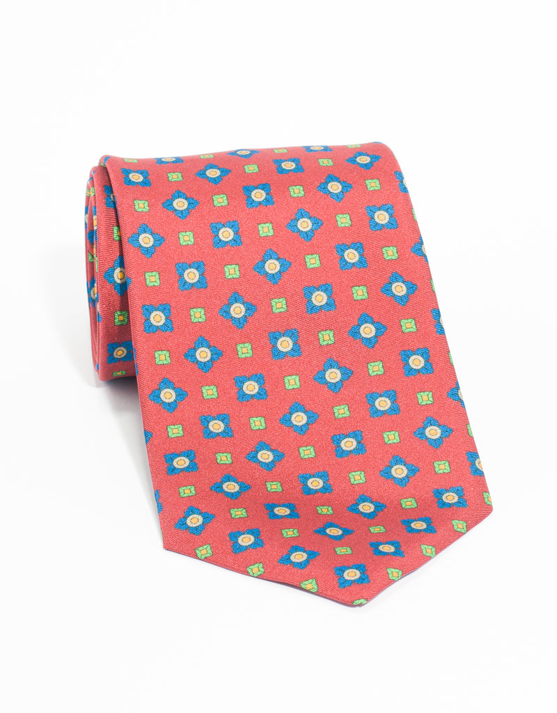 MEDIUM FOULARD AND SQUARE TIE - RED