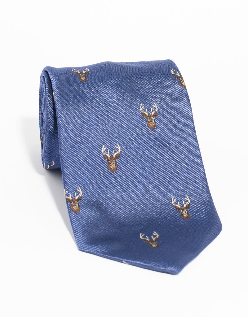 EMBLEMATIC STAG TIE - BLUE