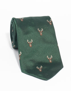 EMBLEMATIC STAG TIE - GREEN
