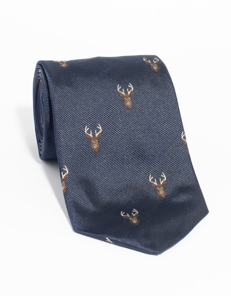 EMBLEMATIC STAG TIE - NAVY