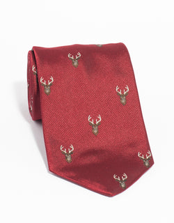 EMBLEMATIC STAG TIE - RED