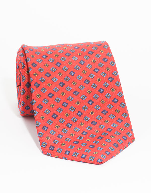 PRINTED SQUARE TIE - RED