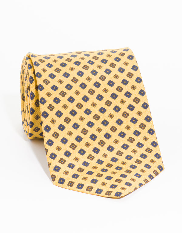 PRINTED SQUARE TIE - YELLOW