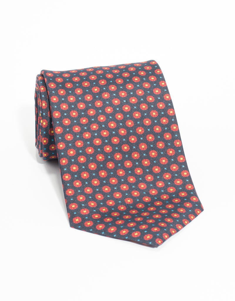MEDIUM FOULARD AND SMALL SQUARE TIE - NAVY