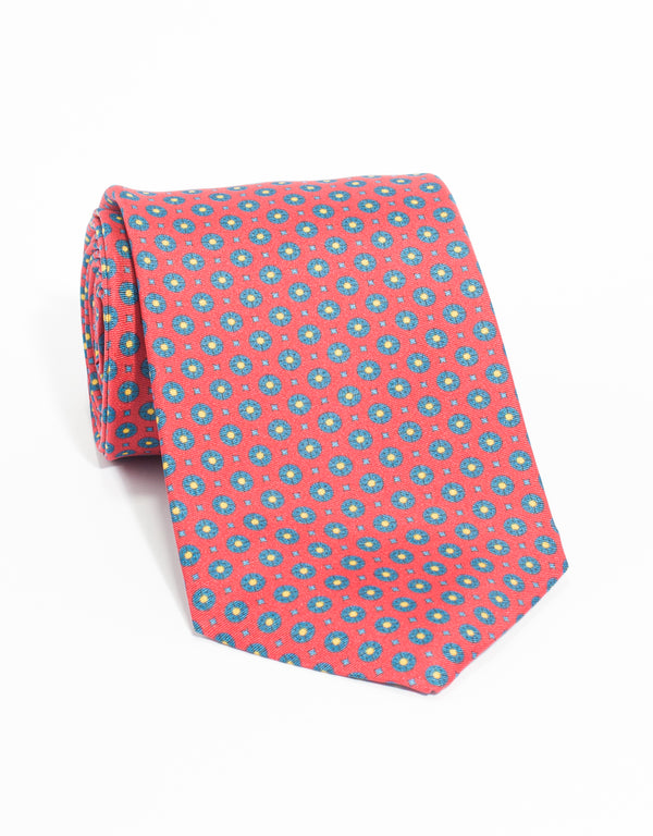 MEDIUM FOULARD AND SMALL SQUARE TIE - RED