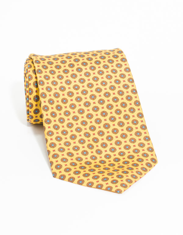 MEDIUM FOULARD AND SMALL SQUARE TIE - YELLOW
