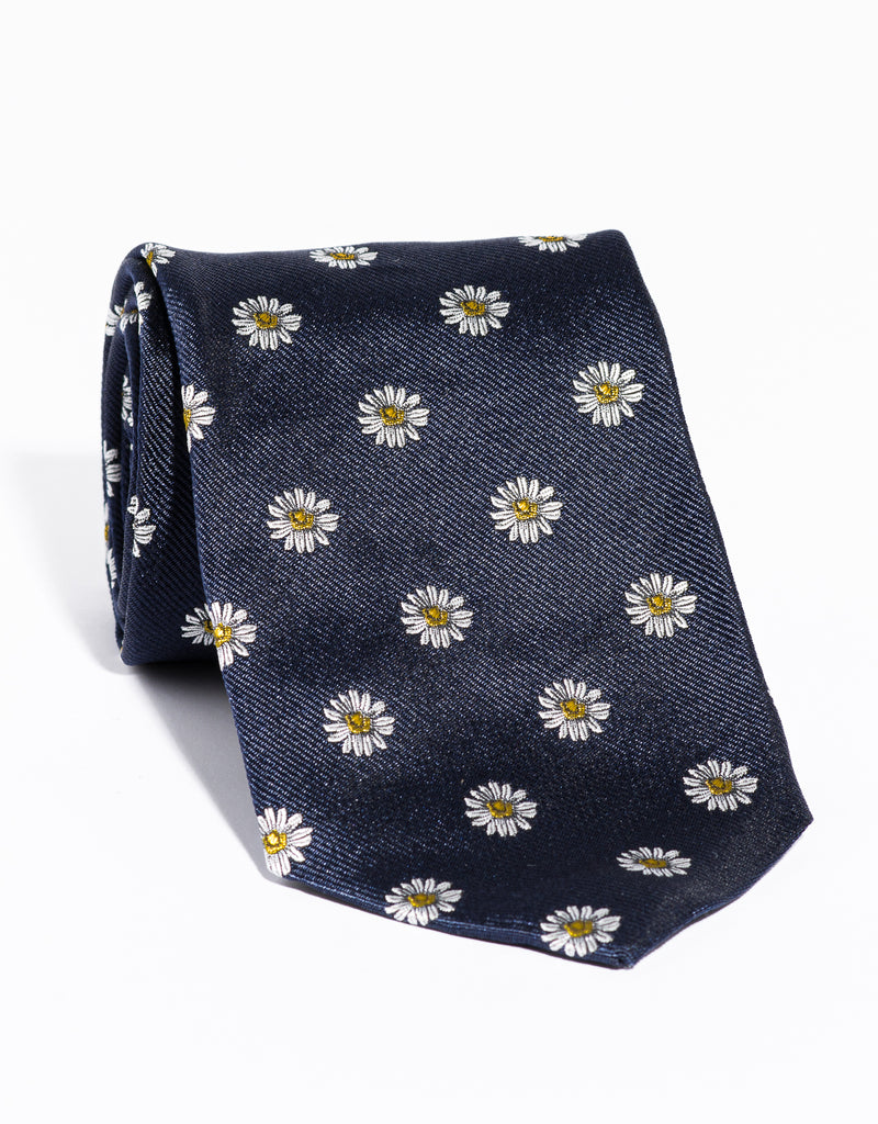 J. PRESS EMBLEMATIC DAISY TIE - NAVY
