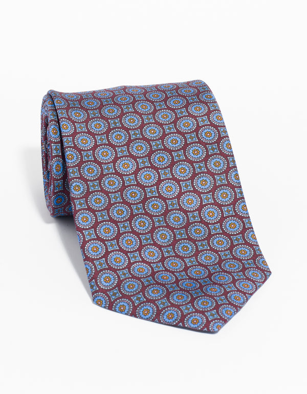PRINTED MEDALLION TIE - BURGUNDY