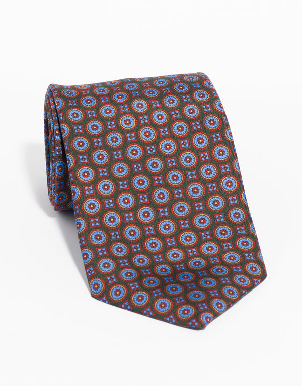 PRINTED MEDALLION TIE - GREEN