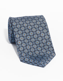 PRINTED MEDALLION TIE - NAVY