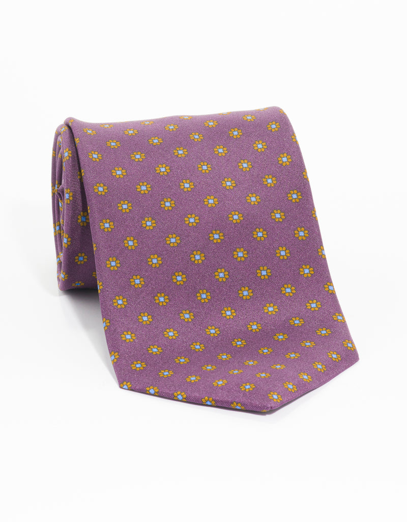 PRINTED FOULARD TIE - PURPLE