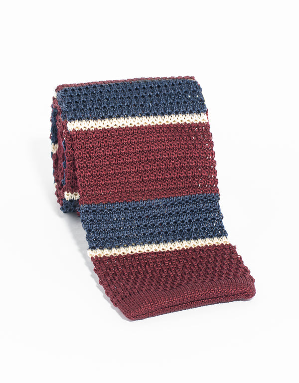 3 COLOR STRIPE KNIT TIE- NAVY/BURGUNDY/CREAM