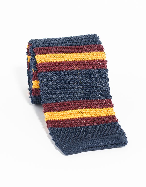 J. PRESS STRIPE KNIT TIE- NAVY/BURGUNDY/GOLD