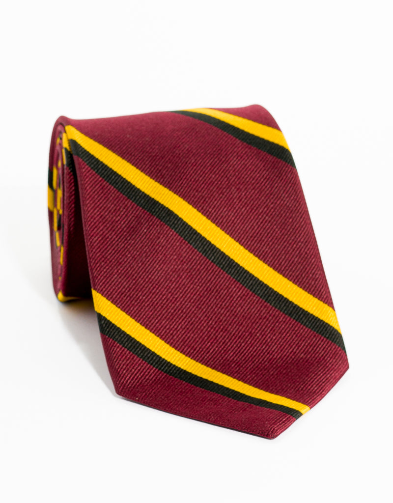 AUTHENTIC REGIMENTAL TIE - BURGUNDY/BLACK/GOLD
