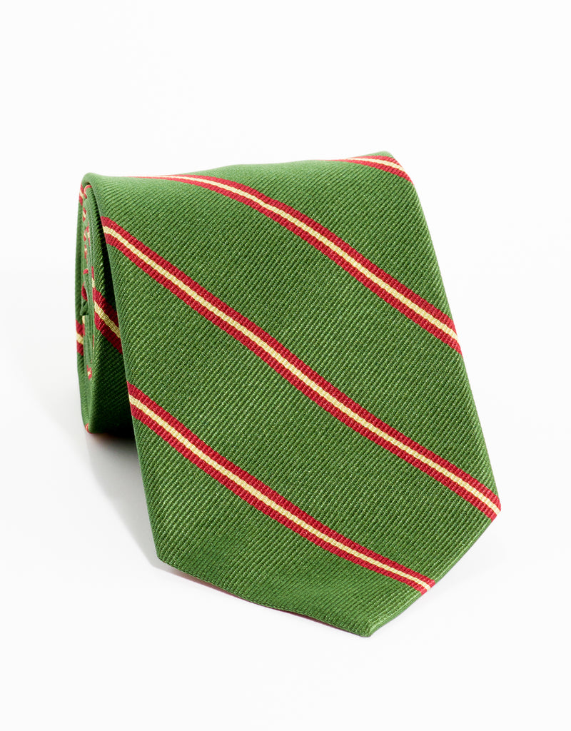 REGIMENTAL TIE - OLIVE/RED/GOLD