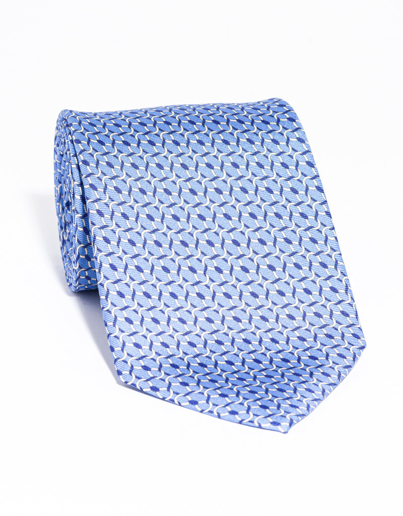 J. PRESS PRINTED LINKS TIE - BLUE