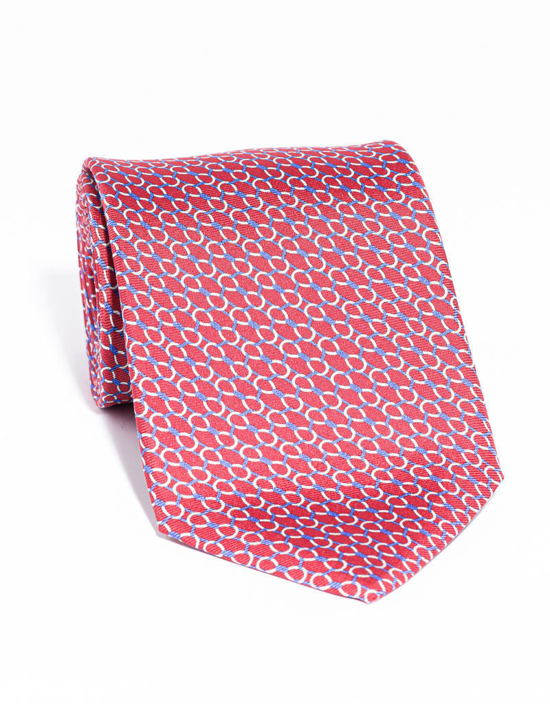 J. PRESS PRINTED LINKS TIE - RED