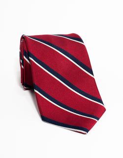 CLASSIC 2 BAR STRIPES TIE - RED