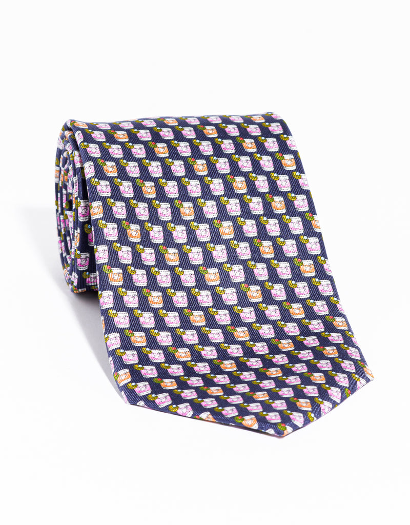 J. PRESS PRINTED DRINKS TIE - NAVY