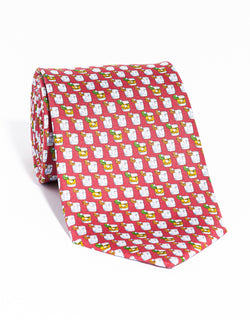 J. PRESS PRINTED DRINKS TIE - RED