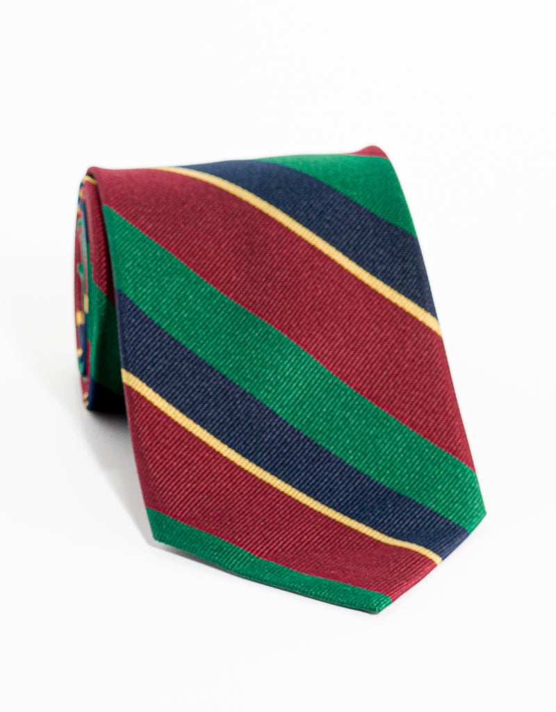AUTHENTIC REGIMENTAL TIE - BURGUNDY/HUNTER