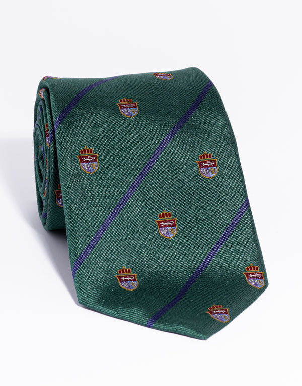 J. PRESS CREST WITH STRIPE TIE - GREEN/BLUE