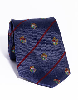 J. PRESS CREST WITH STRIPE TIE - NAVY/RED