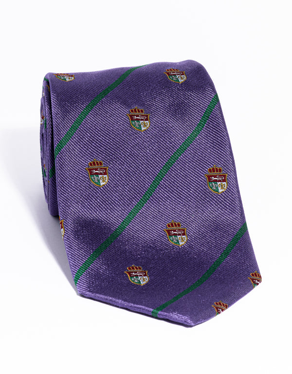 J. PRESS CREST WITH STRIPE TIE - PURPLE/GREEN